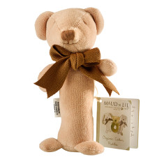Teddy organic cotton stick rattle