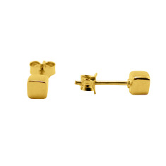 Cube studs in gold or rose gold