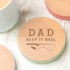 Funny Fishing Gift 'Keep It Reel' Personalised Coaster
