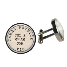 Birth details cufflinks