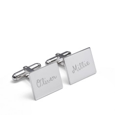 Men's personalised sterling silver rectangular cufflinks