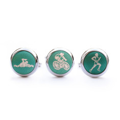 Triathlon cufflink set in green & white
