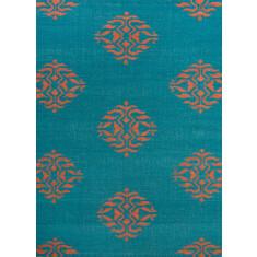 Deep lake handmade flat weave wool rug