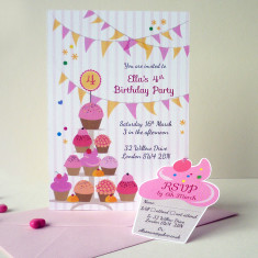 Cupcake party invitation with RSVP tag (set of 10)