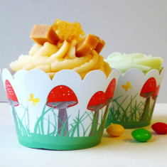 Toadstool cupcake wrappers (set of 12)