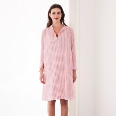 Shirt dress in raspberry stripe
