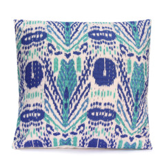 Kantha cushion in Blue and White tribal