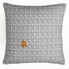 Grey paper house cushion cover