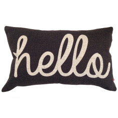 Hello cushion cover in black