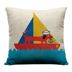Sailing sausage dog cushion cover