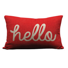 Hello cushion cover in red