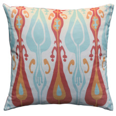 Boheme coral ikat cushion