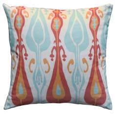 Boheme coral ikat cushion