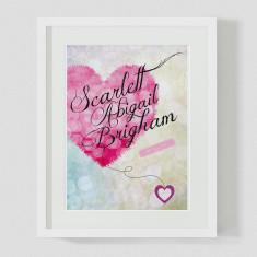 Pink heart custom name birth print