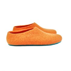 Women's felt slippers in peach aqua