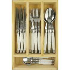 Laguiole by Louis Thiers 24-piece Linéaire range cutlery set with white handles