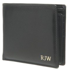 Monogrammed Men's Convertible Leather Wallet - Black w/ Gold Emboss