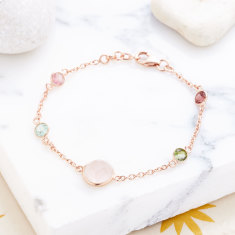Sofia gemstone station bracelet in rose gold plate