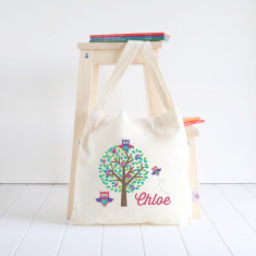 Cute Owls personalised library bag