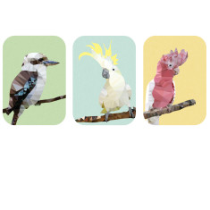 Geometric Australian birds art prints ( set of 3)