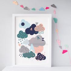 Personalised Raincloud Nursery print