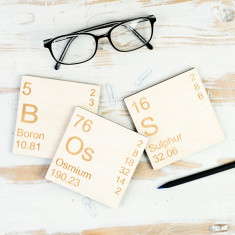 Boss Periodic Table wooden coasters set