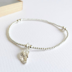 Sterling silver angel wing beaded bracelet
