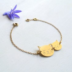 Personalised Gold Mummy Cat Face and Baby Cat Face Bracelet