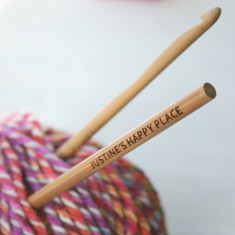 Personalised happy place bamboo crochet hook