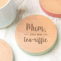 Mum, You Are Tea-Riffic Coloured Edge Coaster