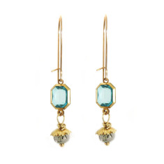 Rutilated quartz and vintage turquoise lucite drop earrings