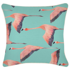 Outdoor Cushion Cover-Flying Flamingos Aqua (various sizes)