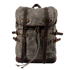 Gray Canvas Waterproof Backpack/Laptop Bag With Leather Details