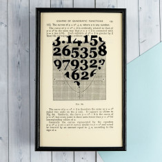 Romantic Geek Gift Love Heart Pi - Book Page Print