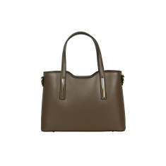 Victoria leather tote bag in taupe