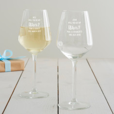Personalised 'Will You Be My Usher?' Wine Glass