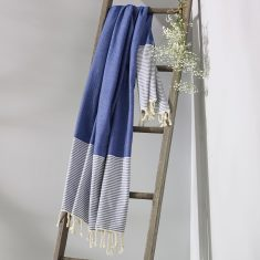 Freshwater Turkish Towel in Sailor Blue & White
