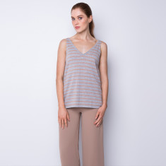 Striped cotton cashmere tank