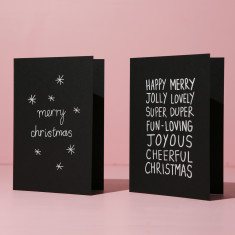 Christmas Cards - white on black (2 card pack)