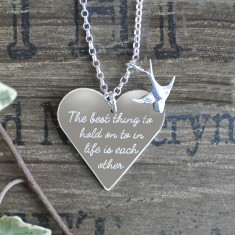 Personalised the best thing... sterling silver heart & charm necklace