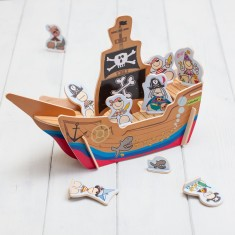 Build Your Own Wooden 3D Pirate Ship Toy