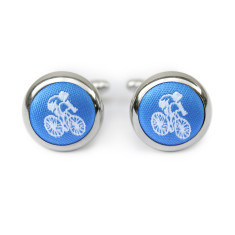 Cyclist cufflinks in blue