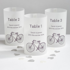 Cyclist wedding table number lanterns