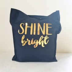 Shine bright gold foil tote bag
