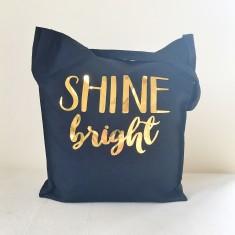 Shine bright gold foil tote bag