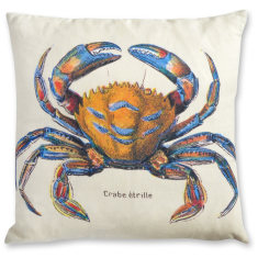 French Crab linen cushion cover