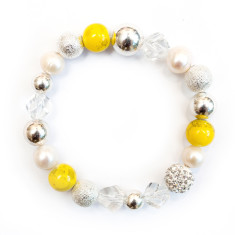 Women's freshwater pearl, crystal and gemstone bracelet