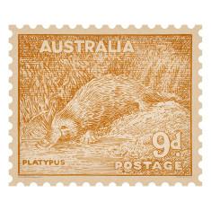 Platypus Australian postage stamp wall sticker