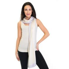 Silk Cashmere Scarf / Wrap Two Toned Ivory