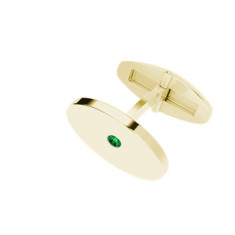 Oval Yellow Gold Cufflinks Emerald